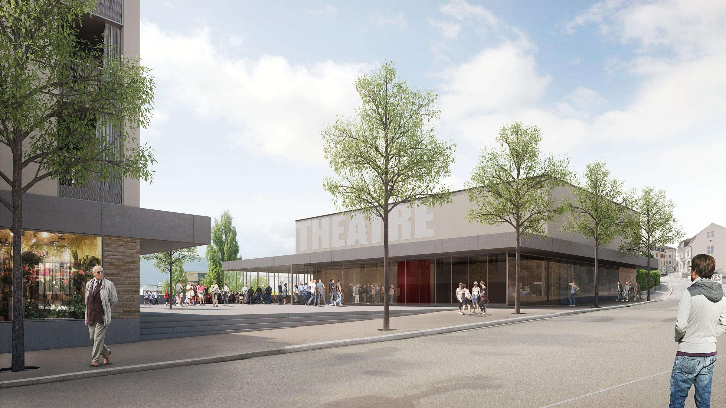 Zentrumsüberbauung mit dem Théâtre du Jura Delémont